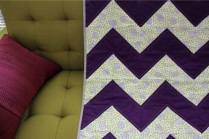 Purple & Lime Green Chevron Quilt