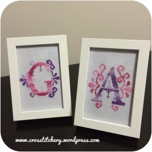 """A"" & ""G"" Embellished Cross Stitch Initials"