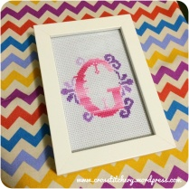 """G"" Embellished Cross Stitch Initials"