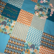 Baby Boy Quilt Top with Embroidery