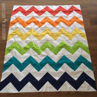Rainbow Chevron Quilt Top