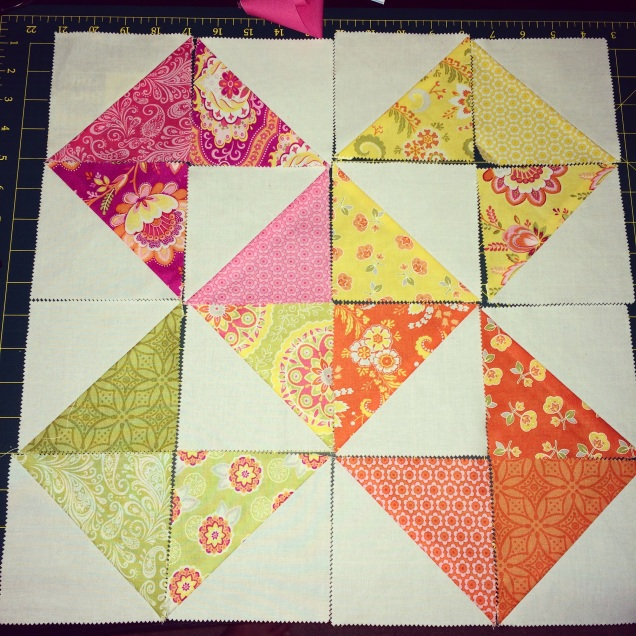 Layout of cushion blocks, pre sewing.