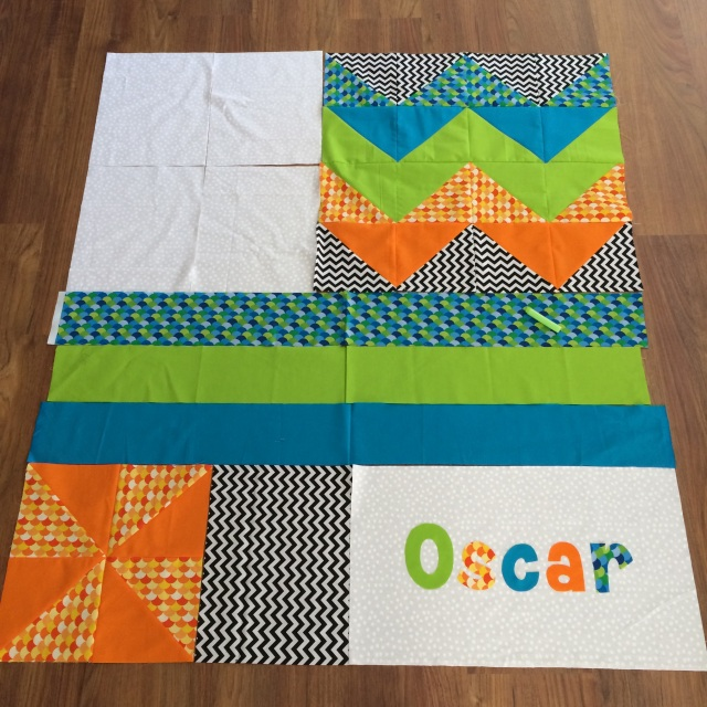 Layout of Oscar's quilt - pre piecing aside from the chevron and pinwheel block