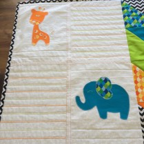 2 Animal Applique with Alternate Colour Zig Zag Stitching