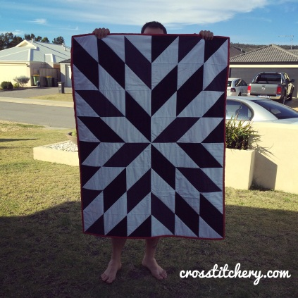 Quilt Top - Black & White Starburst Quilt