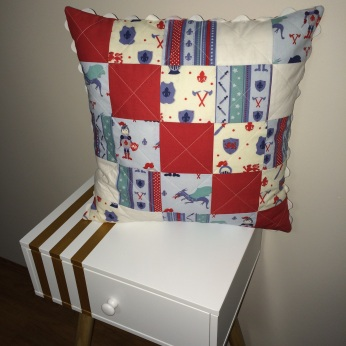 Completed Patchwork Cushion w/ Ric Rac for Trim