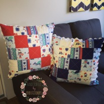 Front of Blue and Red Patchwork Quilted Cushions