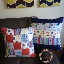Front of Red, and Back of Blue Patchwork Cushion