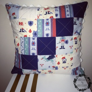 Finished Blue Patchwork Quilted Cushion