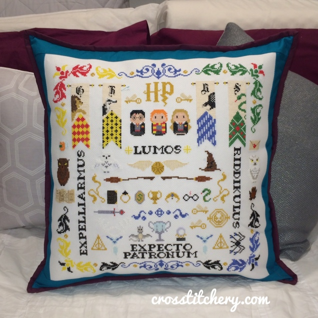 Completed - Harry Potter Sampler Cross Stitch Cushion