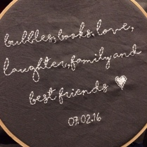 Embroidered personal message