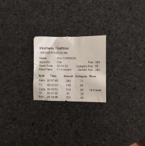 My final times including transition times