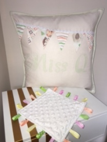 Applique Cushion + Taggie Blanket
